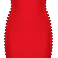 'Muse' Side Weave Bandage Dress - Red