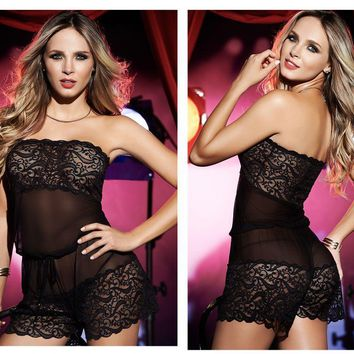 Mapale 7123 Sheer mesh Babydoll Romper with Matching G-String