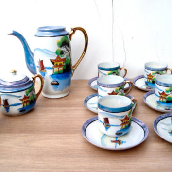 Vintage Handpainted Made in Japan Lusterware Porcelain Coffee/Tea set