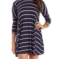 Striped Dropped Shoulder Trapeze T-Shirt Dress