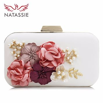 Natassie Brand Women Flower Wedding Party Clutch Purse Ladies Evening Bag Royal Blue Day Clutches With Pearl Chain