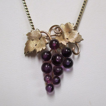 Krementz Amethyst Grape Cluster Necklace  14K Gold Overlay Genuine 1940s Gemstone with leaf and vines