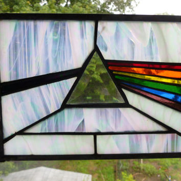 Dark Side Of The Moon Stained Glass Panel Pink by GlassMonkeyArts