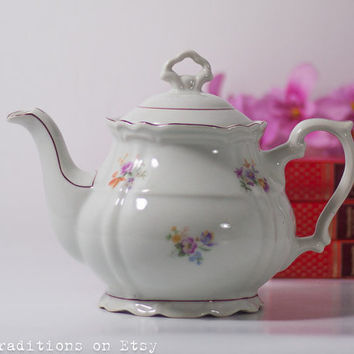 Shabby Chic Porcelain Teapot: Vintage Fine China Porcelain Teapot Made in Poland, Flowers Decoration
