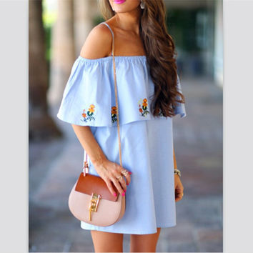 Fashion Flower Print Frills Strap Off Shoulder Mini Dress