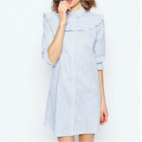 Light Blue High Neck Ruffles Half Sleeve Shift Dress
