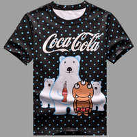 Summer Men Short Sleeve T-shirts Cotton Print Couple Bottoming Shirt [6544433859]