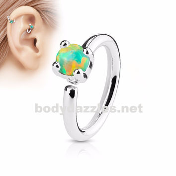 Prong Set Green Opal  Bendable Hoop Ring Tragus Cartilage Helix 16ga 316L Surgical Steel
