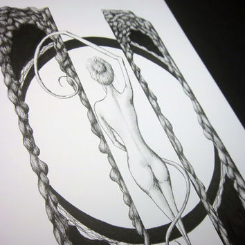 EXPOSITION: Original artwork in pen and ink, surreal pen drawing, black and white nude illustration, 9x12 inches