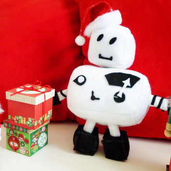 Ro-bee The Ro-bot: Model W-1 (Plush Robot, medium sized, black & white felt plushie)