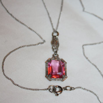 Valentines Sales Art Deco Necklace, Pink Crystal Pendant,  Filigree Pendant  Necklace, 1920s Jewelry