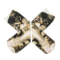 Men Women Kitty Cat Pattern Harajuku 3D Printed Unisex Cotton High Socks