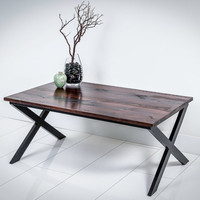 reclaimed wood coffee table with aluminum base