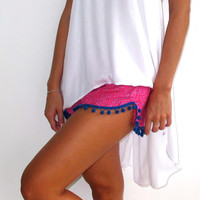 Pom Pom Shorts - Hot Pink & Cobalt Dot Print with Large Cobalt Blue Pom Pom's- Beach Shorts