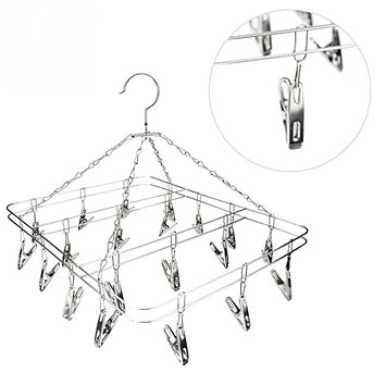 Stainless Steel 20 Clips Folding Underwear Hanging Bra Sock Laundry Hanger Drying Clothes Rack Dryer