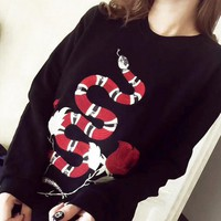 GUCCI  Embroidery Snake Flower Rose Print Sweater Black Pullover Sweater Top