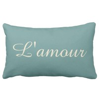 Beach Palette: Solid Teal Blue, w Love (french) Throw Pillows