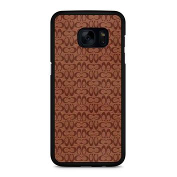 Coach New York Brown Leather 1 Samsung Galaxy S7 Edge Case