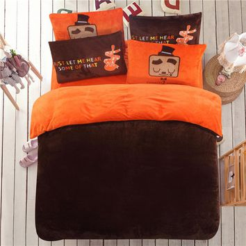 bedding set flannel fleece duvet cover winter flat sheet 4pcs solid home bedclothes caroset linens two side use covers