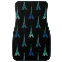 Paris Eiffel Tower Blue Black Car Mats