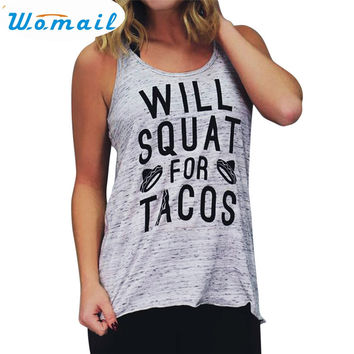Womail Newly Design WILL WILL SQUAT FOR TACOS Women Gray Workout Tank Top 170228 Drop Shipping