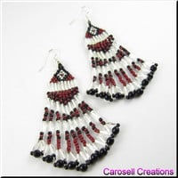 Sweetheart of the Southwestern Dangle Beadwork Seed Bead Earrings in Brick Red and Silver