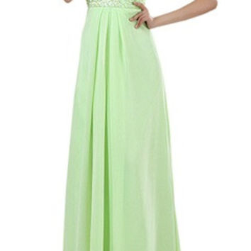 Front Gathered Beading Waist Strapless Dress