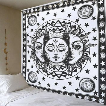 Sun moon Tapestry Hippie Indian Wall Hanging Bedspread Throw Art (Size: 150cm by 200cm)