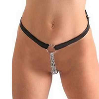 Women chain thong Sexy exotic female chastity belt Leather thongs BDSM Fetish