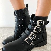 Buckle In Boots: Black/Silver