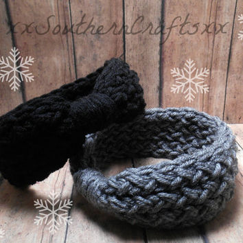 Infant Ear Warmers, Black Baby Headwrap Set, Grey Knit Headband, Baby Girl Gifts, 0-12 Month Sizing Options