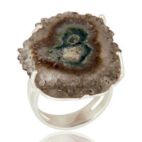 Solid 925 Sterling Silver Natural Amethyst Stalactite Slice Prong Set Ring