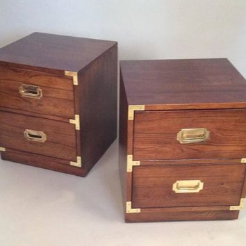 Pair Of Walnut And Brass Campaign Style Nightstands