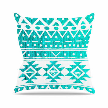 "Nika Martinez ""Aquamarine Tribal"" Teal Blue Throw Pillow"