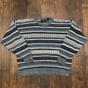 Vintage 90s Uniform Code Striped Acrylic Sweater Black Teal White Mens L Large