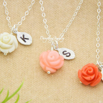 Flower Girl Jewelry, Gift SET of THREE, Initial Necklace,Flower Girl Necklace, Initial Jewelry, Children, Minimal Jewelry, Flower Charm