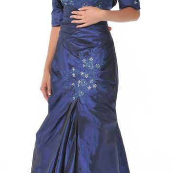 Strapless Mother of Bride Royal Blue Dress Includes Bolero Jacket