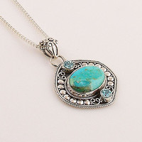 Blue Topaz & Turquoise Sterling Pendant - keja Jewelry