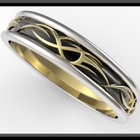 Unique 3 Tone Men's Wedding Ring - Black And White And Yellow Gold
