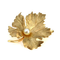 Eckfeld & Ackley 14k Gold Cultured Pearl Leaf Brooch