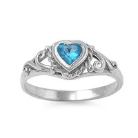 Sterling Silver Children's Light Blue (December) CZ Heart Ring