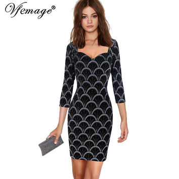 Vfemage Velvet Sexy Bodycon Cool Chic Fish Scale Ladies Womens Party Club Casual Slim Sheath Pencil Fitted Short Mini Dress 4598