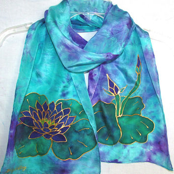 silk scarf, Purple lotus, lotus scarf, yoga scarf, spiritual, metaphysical, prayer scarf, teal and purple scarf