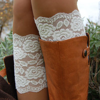 White Cream Lace Boot cuffs, Lace Boot Cuff , Lace Boot Socks, Weddings Lace Boot socks, Leg Women's Shoe Accessories