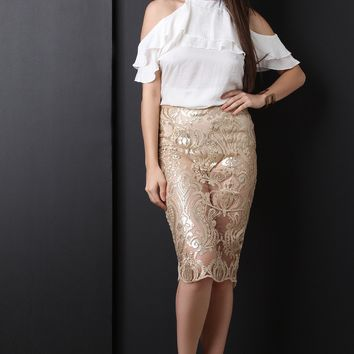 Baroque Sequin Lace Midi Pencil Skirt