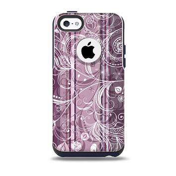 The Purple and Gray Stripes with Overlapping Floral Skin for the iPhone 5c OtterBox Commuter Case