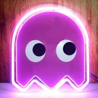 "10""x10"" PACMAN Pink Ghost Beer Bar Pub Neon Light Sign S06-5"