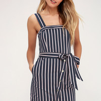 Porto Navy Blue and Pink Striped Dress