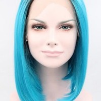 K'ryssma Short Bob Lace Front Synthetic Wig Dark Root Blue Ombre Wig Straight Heat Resistant Fiber Hair 12 Inches (Side Part)
