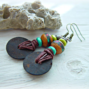 Boho Hippie Earrings - Boho Jewelry - African Jewelry - Hippie Earrings - African Earrings - Tribal Earrings - Ethnic Earrings